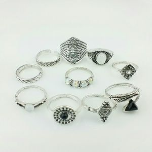 NEW Set of 10 Boho Above Knuckle Stack Rings